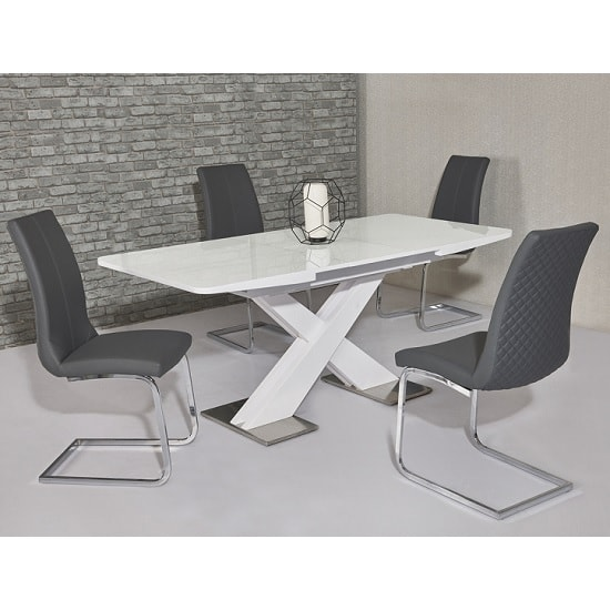 Enzo Extendable Dining Set In White Gloss And 6 Orly Grey Chairs
