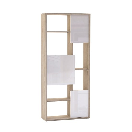 Fargo Bookcase In Brushed Oak With 3 White Gloss Doors