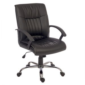 Flinton Executive Office Chair In Black PU With Chrome Base
