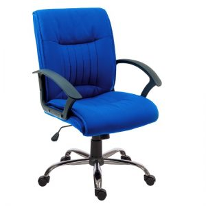 Flinton Fabric Executive Office Chair In Blue And Chrome Base