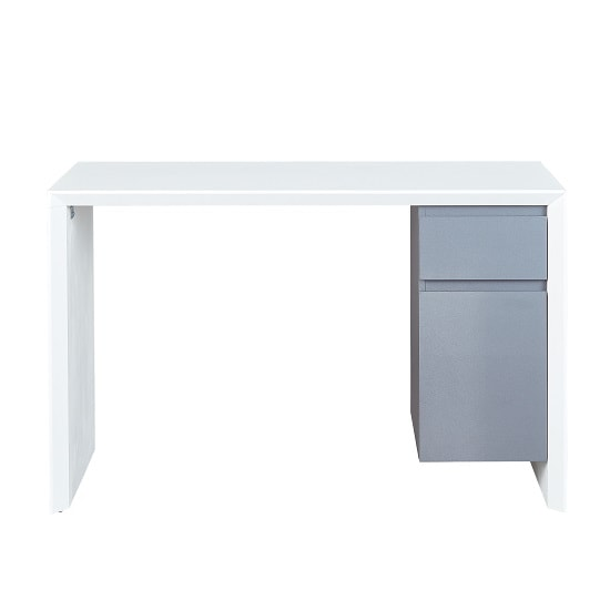 Foxley Computer Desk In White High Gloss And Grey