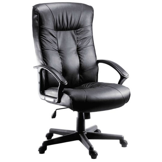 Fraser Executive High Back Office Chair In Black Faux Leather