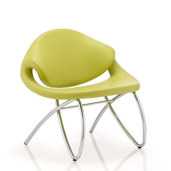 Garner Visitor Office Chair In Green Bonded Leather
