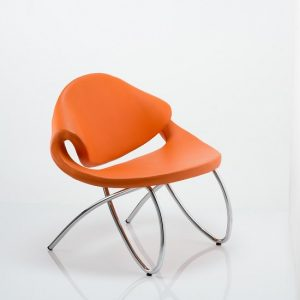 Garner Visitor Office Chair In Orange Bonded Leather