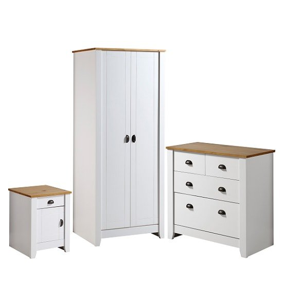 Gibson Wooden Bedroom Furniture Set In White And Oak
