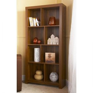 Halstead Tall Shelving Unit And Bookcase In Warm Acacia Wood