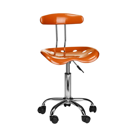 Hanoi Office Chair In Orange ABS With Chrome Base And 5 Wheels