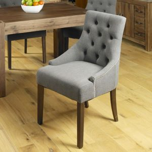 Harry Dining Chair In Slate With Walnut Legs In A Pair