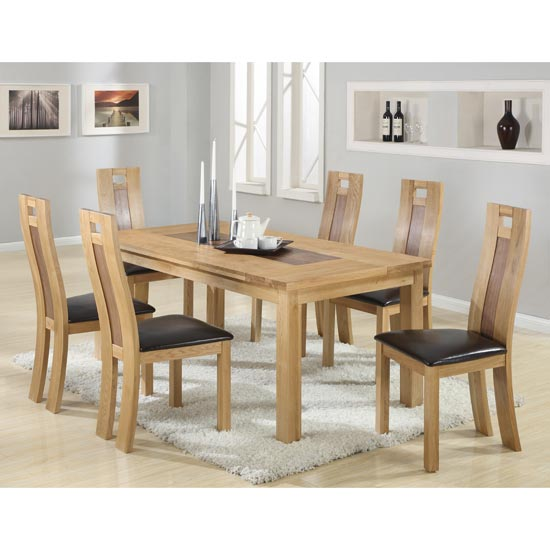 Harvard Solid Oak Dining Table with 6 Chairs