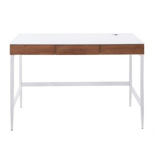 Hatton Computer Desk In Matt White And Oak With Metal Legs