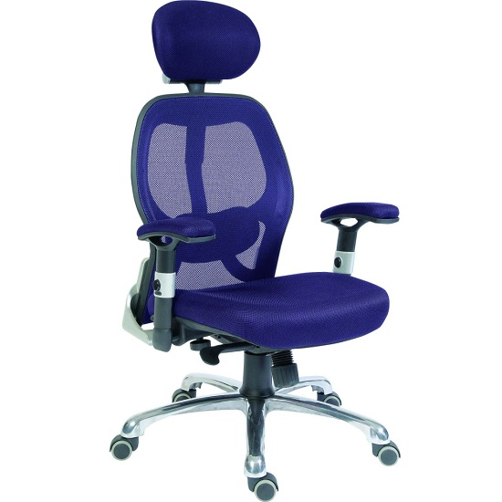 Hendon Home Office Chair In Blue Mesh With Castors
