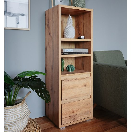 Hilary Wooden Bookcase In Oak With 2 Drawers