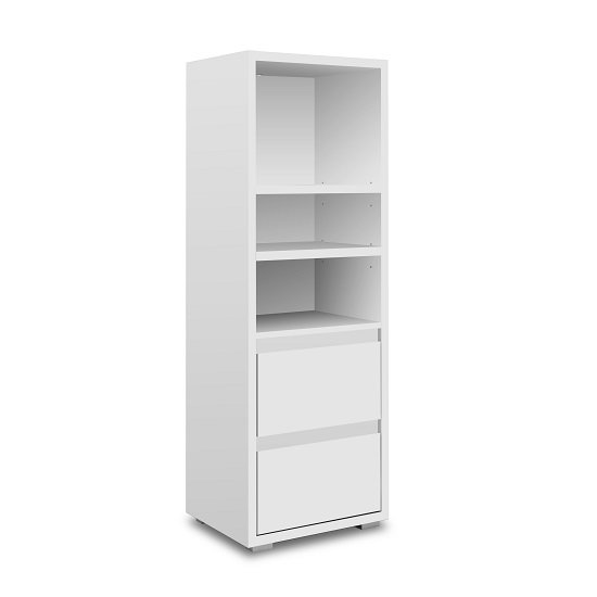 Hilary Wooden Bookcase In White With 2 Drawers