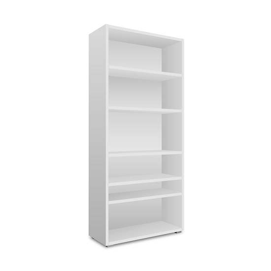 Hilary Wooden Bookcase In White With Open Compartments