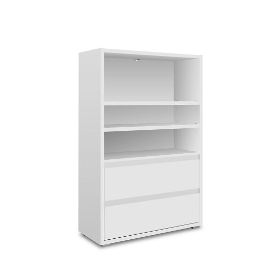 Hilary Wooden Bookcase Wide In White With 2 Drawers