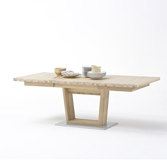 Huxley Wooden Extendable Dining Table In Bianco Oak And V Foot