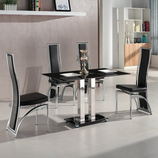 Jet Small Black Glass Dining Table Set With 4 Chicago Chairs