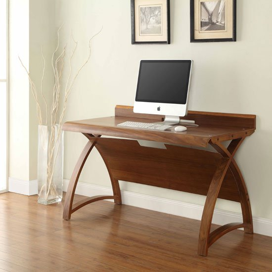Juoly Computer Desk In Walnut With Curve Shaped