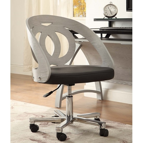 Juoly Office Chair In Black Faux Leather And Grey Ash