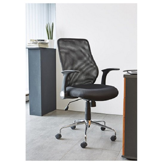 Kendal Home Office Chair In Black With Chrome Base
