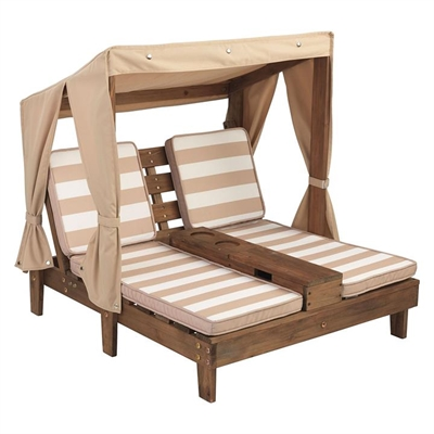 Kids' Double Chaise Outdoor Lounge, Beige/White