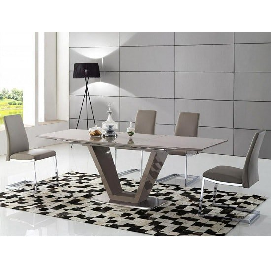 Kieta Extendable Dining Set In Cappuccino High Gloss 6 Chairs