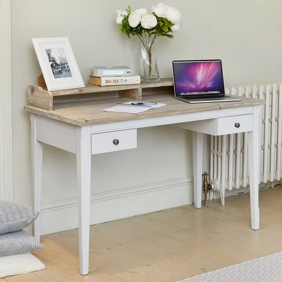 Krista Wooden Computer Desk In Grey With 2 Drawers