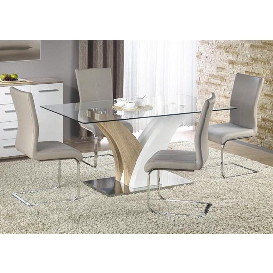 Lamont Glass Dining Table Set In Clear With 6 Grey Chairs