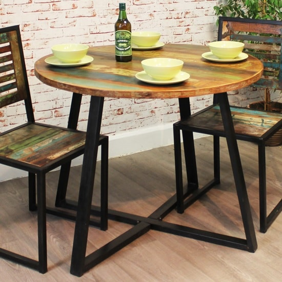 London Urban Chic Wooden Round Dining Table With Steel Base