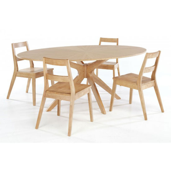 Malun White Oak Finish Dining Table And 4 Dining Chairs