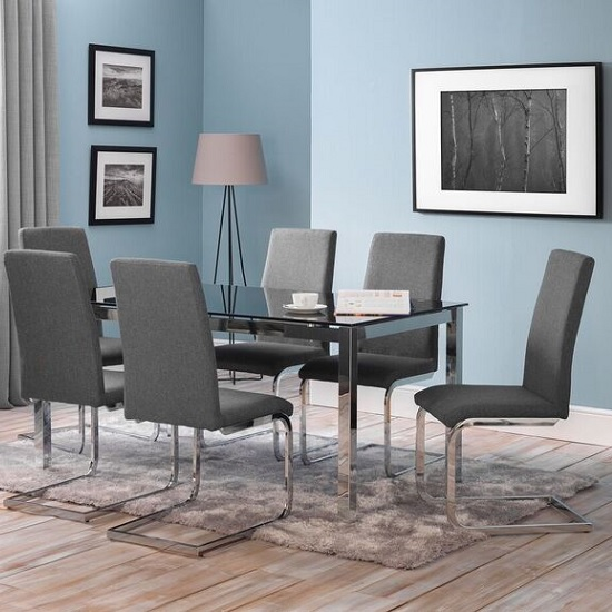Mandy Glass Dining Table In Black With 6 Dining Chairs