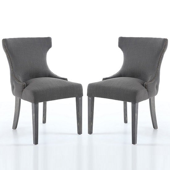 Marcel Fabric Dining Chair In Grey With Wooden Legs In A Pair