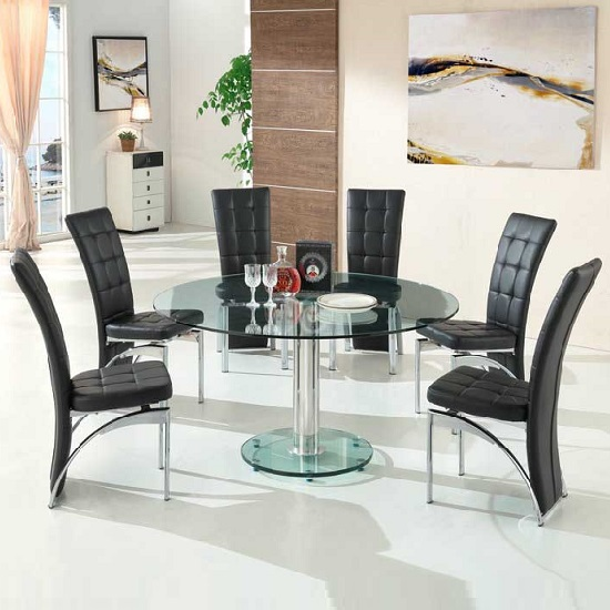 Maxi Round Dining Set In Clear Glass And 6 Ravenna Black Chairs