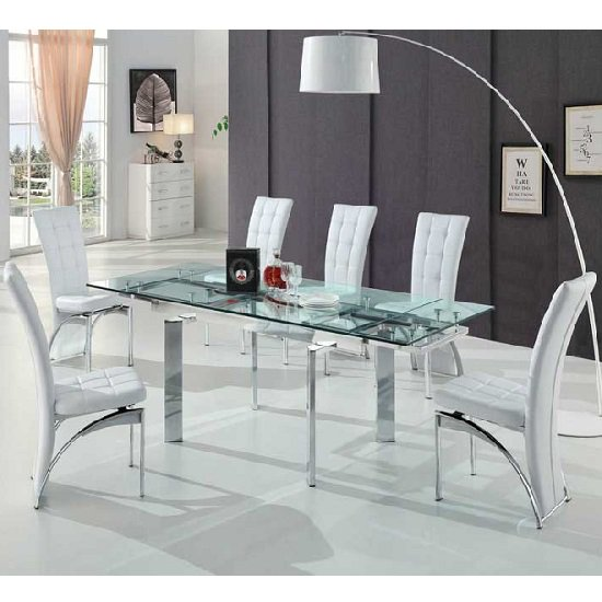 Maxim Extendable Glass Dining Set With 6 Ravenna White Chairs