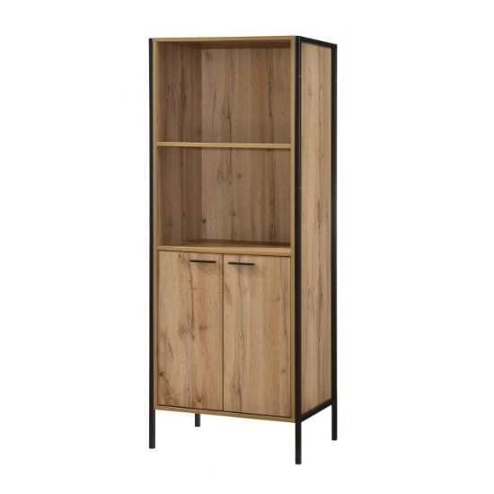 Mayan Bookcase In Oak Effect With Black Metal Frame