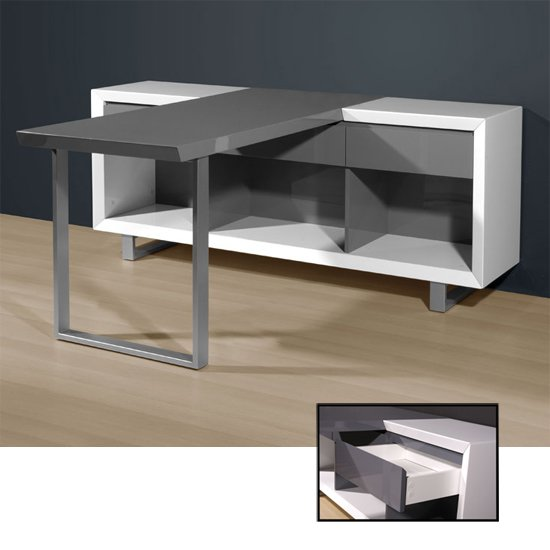 Media Office Computer Desk In High Gloss White And Grey