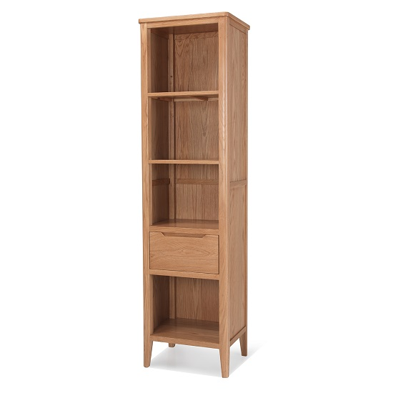 Melton Wooden Bookcase Narrow In Natural Oak With 1 Drawer