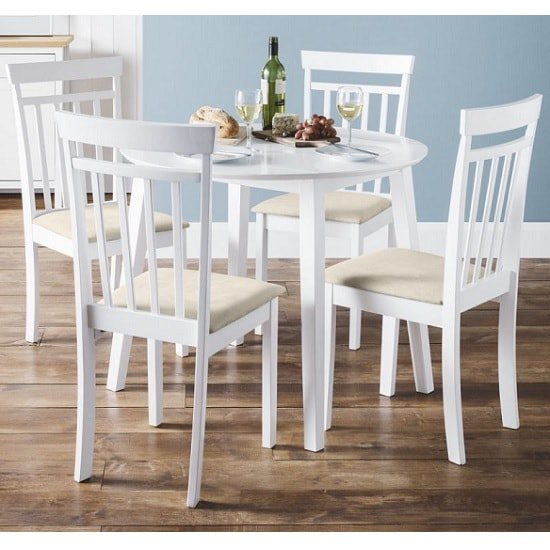 Meridian Extendable Dining Table Set In White With 4 Chairs