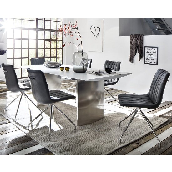 Meryl Large Dining Table In Matt White With 8 Emily Chairs