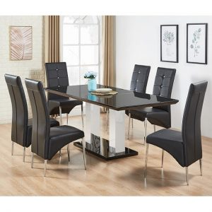 Monton Black Glass Extendable Dining Table And 6 Dining Chairs