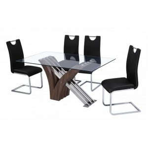 Morris Dining Table In Clear Glass With 6 Dining Chairs