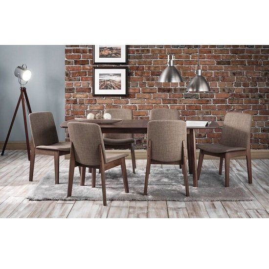 Newbury Wooden Extending Dining Table In Walnut With 6 Chairs
