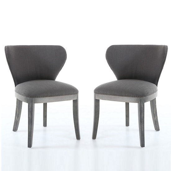 Niobe Fabric Dining Chair In Antique Grey In A Pair