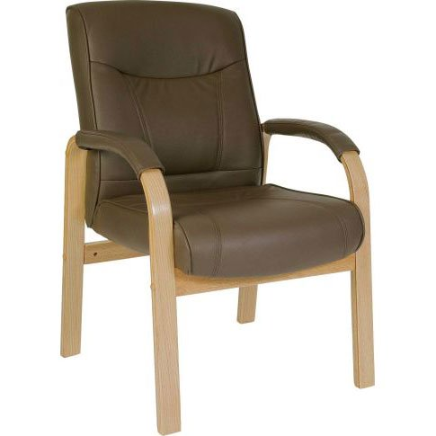 Norman Leather And Wood Visitors Office Chair