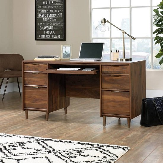 Palais Wooden Computer Desk In Walnut With 6 Drawers