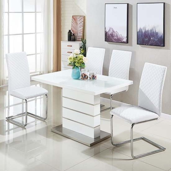 Parini Extendable Dining Set In White Gloss With 4 Ronn Chairs