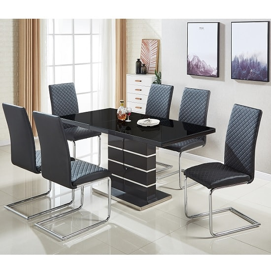 Parini Glass Extendable Dining Set In Black Gloss 6 Ronn Chairs