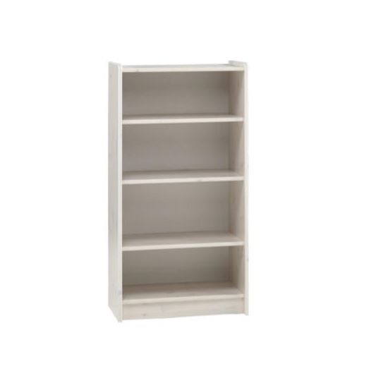 Pathos Childrens Tall Bookcase In White With 3 Compartments