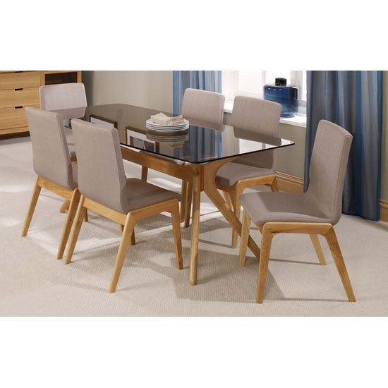 Patio Solid Oak Tinted Glass Top Dining Table And 6 Dining Chair