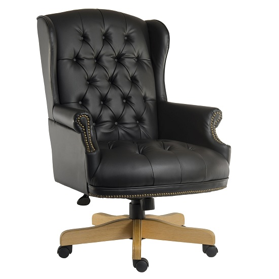 Patmos Executive Office Chair In Black Bonded Leather